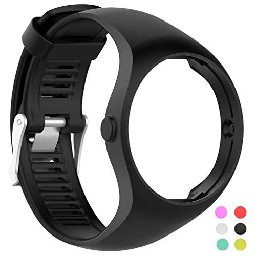 (Fashion Noopvan for Polar M200 Wrist Straps,Accessory Replacement Soft Silicone Gel Watch Band Wristband Sport Bracelet for Polar M200 Watch (Black))