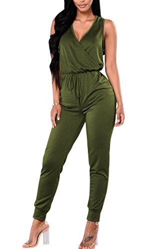 Fixmatti Women Fall Cotton Casual Leisure Suit 1PC V-Neck Slim Underwear Jumpsuit Army Green S