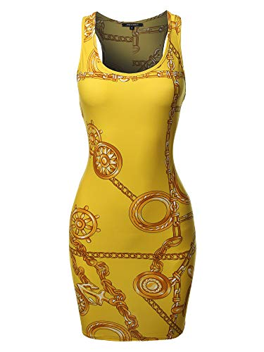 Floral or Camouflage Printed Sexy Body-Con Racer-Back Mini Dress Chain Yellow S ()
