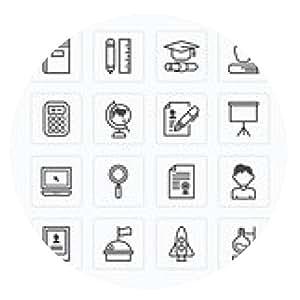 alfombrilla de ratón iconos planos del conjunto de vectores de la escuela de educación concepto herramientas esquema. - ronda - 20cm