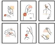 HAUS AND HUES Conjunto de 6 piezas de pintura minimalista abstracta para mujer, arte abstracto, arte minimalis