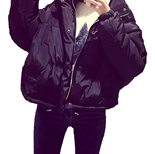 EKU Women's Solid Short Thicken Slim Fashion Outwear Down Jacket XL Black