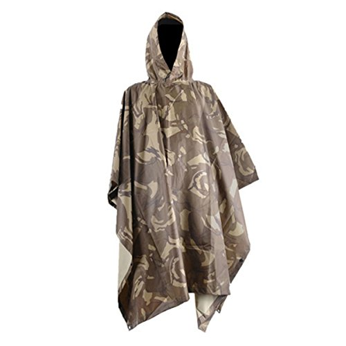 CAMTOA 3in1 Waterproof Rain Poncho,Multifunctional Military Camo Raincoat - Waterproof Tent Camping Rain Cover for Climbing Camping Hiking Desert Camouflage