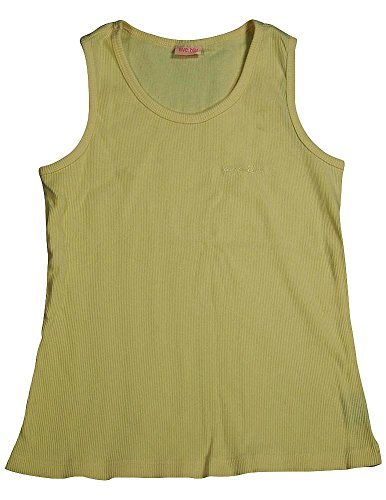 Blu Ribbed Tank Top - Ave.blu - Big Girls' Ribbed Scoop Neck Tee with Embroidered Logo, Vanilla 2863-14