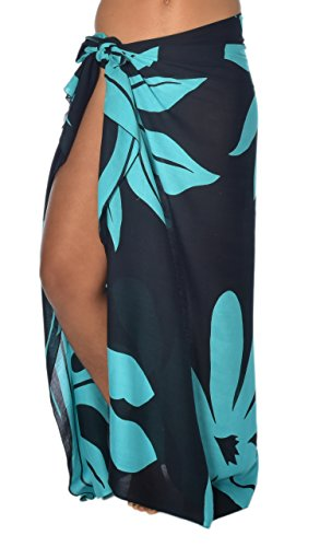 """Casual Movements Women's Tahitian Garden Swimsuit Coverup Black/Turquoise70"""" x 45"""""""