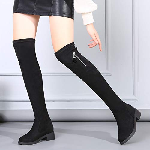 Shukun Bottes Boots Women's Thick Knees Autumn and Winter Thickening High Tube Thick Women's with Flat Bottom Increased Thickening Scrub Elastic Stovepipe Sleeve 39|black 08e245