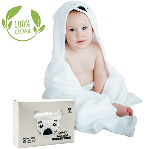 Baby Hooded Bath Towels | Organic Bamboo Material | Perfect for Bath, Pool or Beach | White Puppy Design | Best Gift for Baby Shower or Birthday | Twin Palms Baby Towel by Twin Palms Baby