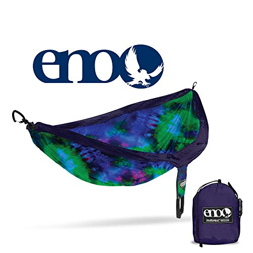 ENO - Eagles Nest Outfitters DoubleNest Print Lightweight Camping Hammock, 1 to 2 Person, Tie Dye V2 (Eagle Hammock)