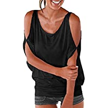 Hmlai Women's T-Shirt,Hot Sale! Women's Fashion Summer Short Sleeve Cold Shoulder Loose Fit Pullover Casual Tops