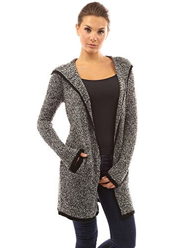 PattyBoutik Women's Trim Hoodie Marled Yarn Cardigan (Black and White M) -