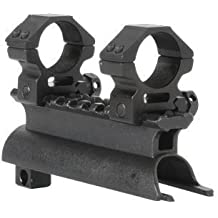 """AR-GEAR OEM Black Steel SKS Rifle See Through Receiver Cover Replacement High Profile Tactical Scope Weaver Picatinny Rail Mount Complete With 1"""" Rings"""