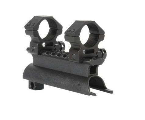 "AR-GEAR OEM Black Steel SKS Rifle See Through Receiver Cover Replacement High Profile Tactical Scope Weaver Picatinny Rail Mount Complete With 1"" Rings"