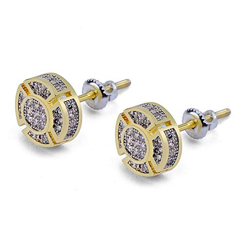 SHINY.U 925 Sterling Silver Iced out CZ Premium Diamond Cluster Zirconia Round Screw Back Stud Earrings for Men Hip Hop Jewelry (Gold Small Circle)