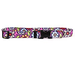 """Yellow Dog Design Pink Garden Dog Collar, Medium-3/4"""" wide fits neck sizes 14 to 20""""/4"""" wide"""