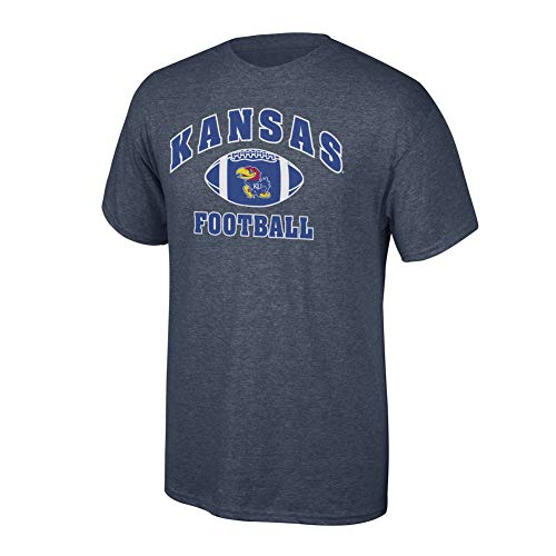 (Elite Fan Shop NCAA Men's Kansas Jayhawks Football T-shirt Dark Heather Kansas Jayhawks Dark Heather)