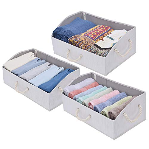 (StorageWorks Storage Bins, Fabric Storage Baskets, Foldable Closet Organizer Trapezoid Storage Box, Bamboo Style, Mixture White, EX-Jumbo, 3-Pack)