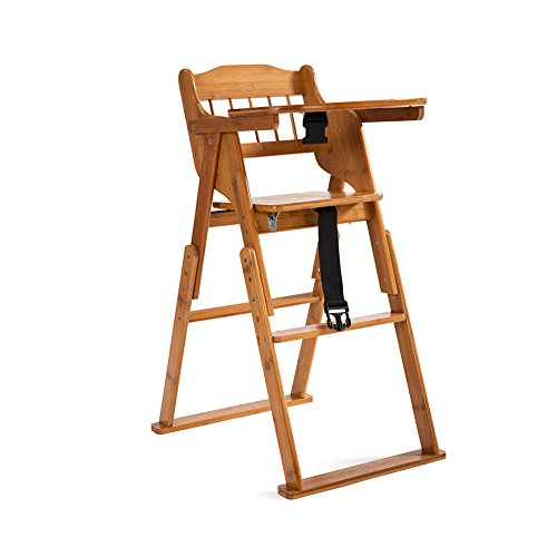 ELENKER Wooden Folding High Chair with Tray Adjustable Height Chair