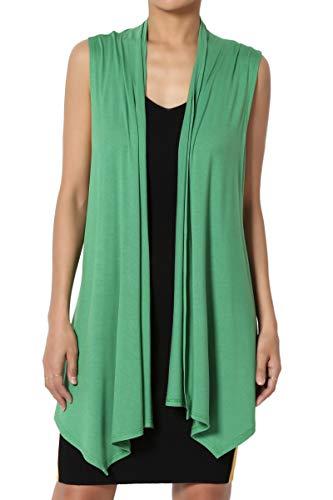 TheMogan Women's Sleeveless Waterfall Jersey Cardigan Asymmetric Vest Apple Green 3XL (Apple Green Tank Top)