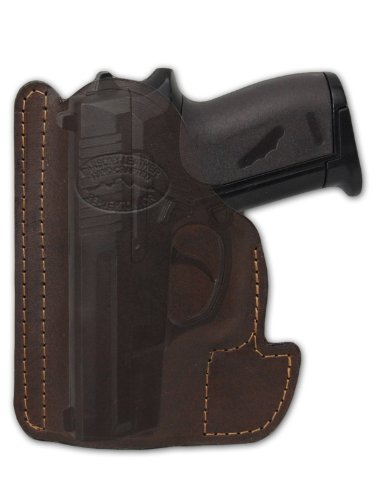 Barsony Brown Leather Gun Concealment Pocket Holster for Colt 380 Mustang Pony