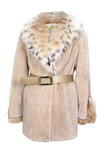 New Women's Sheared Beaver Fur Jacket w/ Natural Lynx Fur Collar Trim 10 M Tan ()
