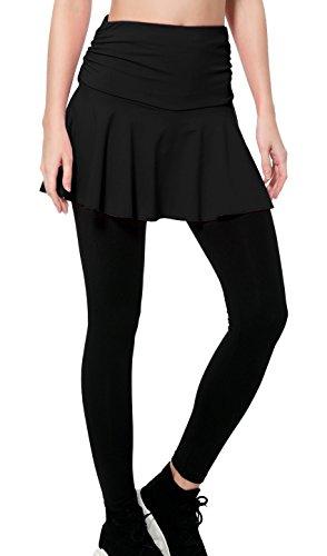- Wantdo Women's Gym Skirt Leggings Strech Shaping Hip Push Up Yoga Pants Black S