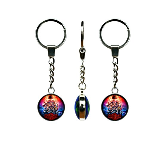 Stranger Things Charms Silver Tone Keychain Cosplay Costume w/Gift Box by - Things Ton