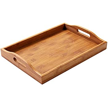 Amazon Com Juvale Wood Food Serving Tray With Double