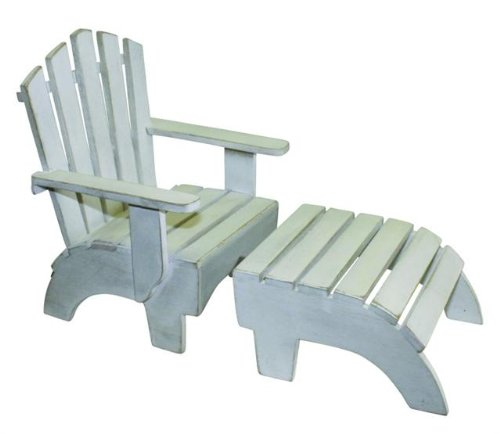 Vintage Style White Wood Beach Doll Chair w Ottoman | Bathing Beauty Seat (Vintage Wood Doll)