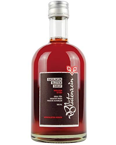 [Gesponsert]Blütenrein Basilikumblütensirup für Schorlen, Limonaden und alkoholische Mixgetränke, weltweit einzigartig, vegan und rot (1x 500ml)