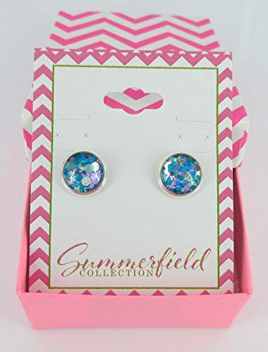 Silver-tone Blue and Purple Glitter Glass Stud Earrings Hand-painted 10mm