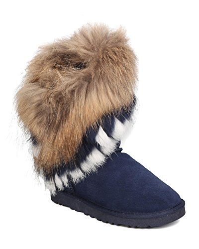 CAPE ROBBIN Women Genuine Suede and Fur Boot - Winter, Cozy, Casual - Authentic Fox and Rabbit Fur Flat Bootie - GD19 by Blue