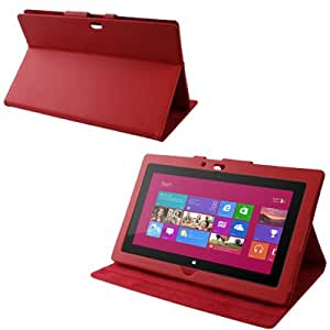 Texture Lichis Funda con Tapa Case Cover Sleep/Wake up & Third Gear-Function Holder Para Windows RT Surface 10,6 (Red) inch