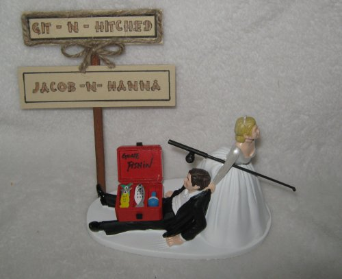 Wedding Fishing Redneck Git n Hitched Cake Topper