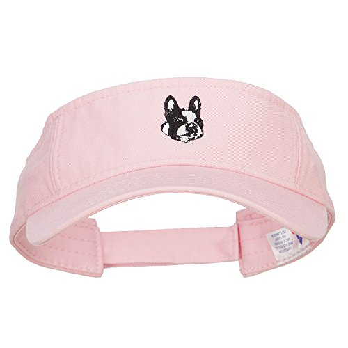 Boston Terrier Head Embroidered Pro Style Cotton Washed Visor - Lt Pink OSFM by e4Hats.com (Image #4)