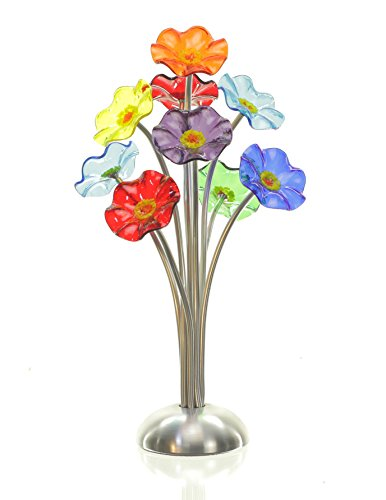 Handmade Glass Flower Bouquet for Delivery | Set of 9 Art Glass Rose-Like Flowers [Silver] | Hand Blown by Artists Scott & Shawn Johnson  (Handmade Glass Flower)