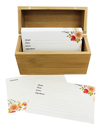 Bamboo Recipe Box Set With 100 Recipe Cards & 10 Blank Dividers | Holds Up To 200, 4x6 Cards | From Splendid Chef (Recipe Cards Box And)