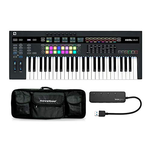 Novation 49SL MkIII MIDI Keyboard Controller Bundle with Novation Carry Case and Knox 3.0 4 Port USB Hub (3 Items)