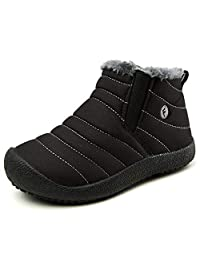 XIDISO Kids Winter Snow Boots Outdoor Waterproof Anti-Slip Booties for Boys and Girls Ankle Boots with Full Fur (Little Kid/Big Kid)