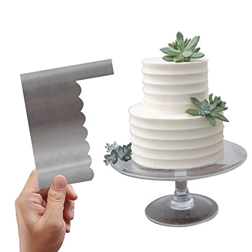 - Wavy Side Cake Icing Smoother Metal Cake Scrapers For Fondant Icing Buttercream Cakes Decorations(2 Styles)