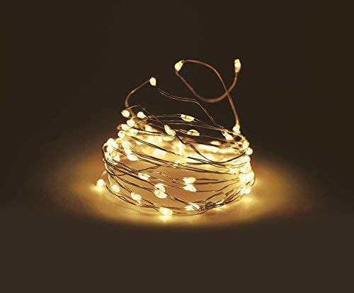 LED Lichterkette aus Silberdraht mit 100 LEDs und Timer Drahtlichterkete Innen