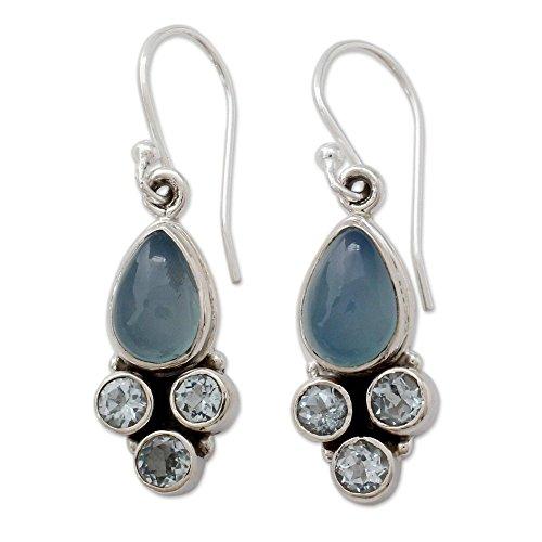 NOVICA Multi-Gem Chalcedony .925 Sterling Silver Dangle Earrings 'Dream Meadow' (Topaz Earrings Blue Chalcedony)
