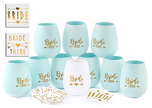 Bride Tribe Bachelorette Party Silicone Cups - Set of 10 Bundle with Temporary Tattoos Set of 12 -Bridesmaid Wedding Gift Celebration Durable Decorations (Blue) (Bachelorette Novelties Party)