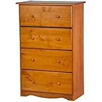 "100% Solid Wood 4-Super Jumbo Drawer Chest by Palace Imports, Honey Pine Color, 32""W x 48.5""H x 17""D"