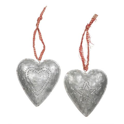 Darice Metal Tin Heart Ornaments 5231-07 Rustic Farmhouse Set of 2 (1 Punched Star and 1 Punched Heart)