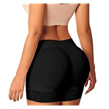 Women Seamless Butt Lifter Shaper Padded Panties Enhancer Underwear (US S / Tag M, Black)