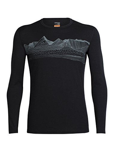 - Icebreaker Merino Men's Oasis Long Sleeve Crewe With Graphic, Pyrenees - Black, Large
