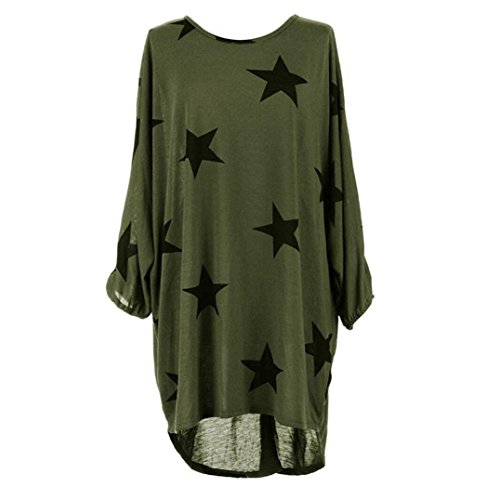 Winwintom Mujeres Plus Size Batwing Sleeve estampado de estrellas Baggy tunic Tops Blusa Verde