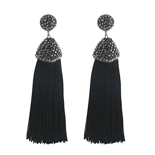 INSANEY Women's Long Tassel Earrings Rhinestone Silk Ethnic for Women Jewelry Tassel Dangle Drop Earrings (Black) (Silk Rhinestone)