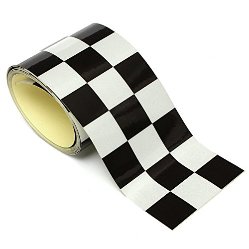 Mag Measuring Tape (Mag Checkered Tape Car Stickers & Decals - 3 Inch White Checkered Flag Vinyl Decal Tape Car Motorcycle Bike Tank Sticker - Recording Tapeline Patterned Magnetic Checked Record - 1PCs)