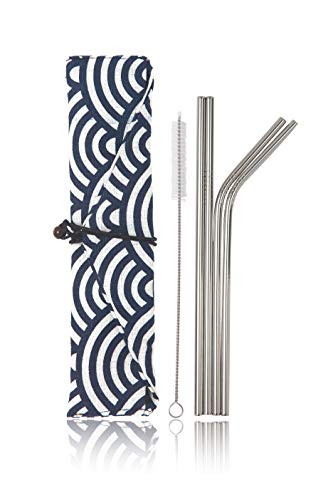 "Price comparison product image Stainless Steel Reusable Metal Straws -Portable Food Grade 4 Pack 8.5"" Cleaning Brush and Stylish Cloth Bag case Included. Fit 20 oz. tumblers. (Big Waves)"